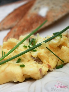 Scrambled Eggs with Chives Fontina and Prosciutto-1 watermark
